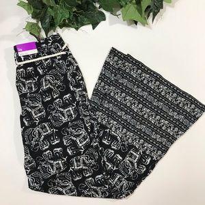 Merona Pants - Merona Wide Leg Palazzo Elephant Print Black White